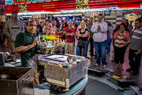 Spray artist Tony Vegas displays a finished painting in the Fremont Street Experience, Las Vegas.